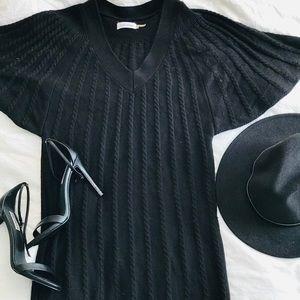 Calvin Klein Black Flowy Sleeve Sweater Dress